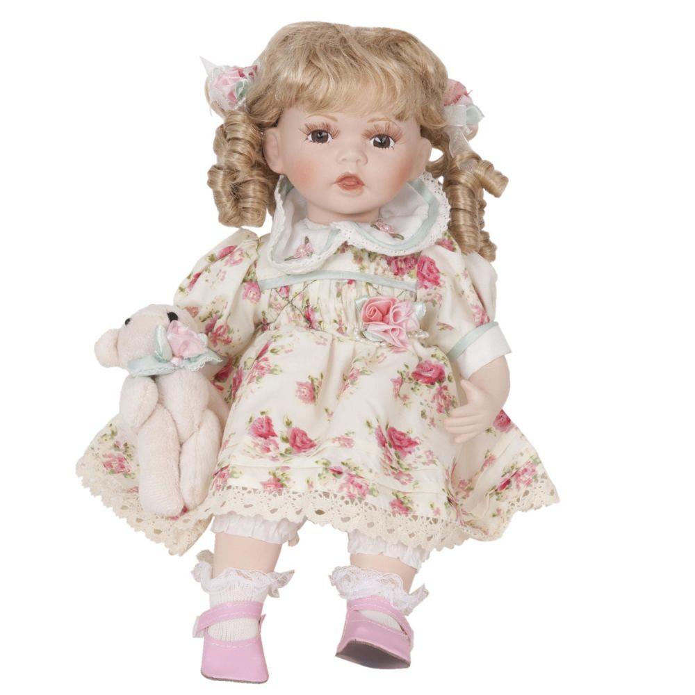 Luxusní porcelánová panenka Blondýnka s loknami a medvídkem 40cm
