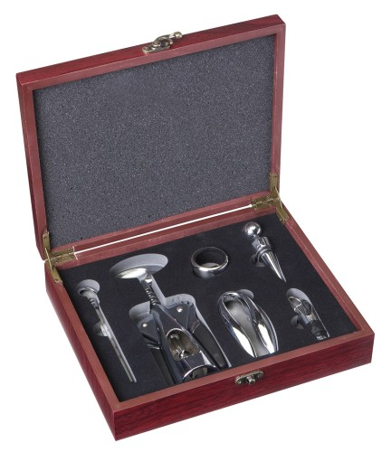 Dárková sada - mahagonový box na víno S otvírákem velká drobný úťuk