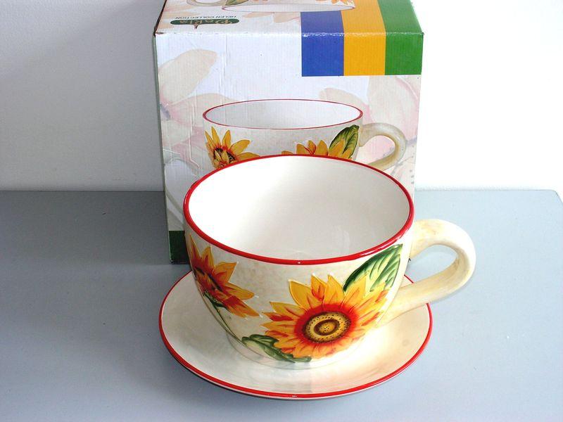 Keramický květináč MAXI Šálek Slunečnice M