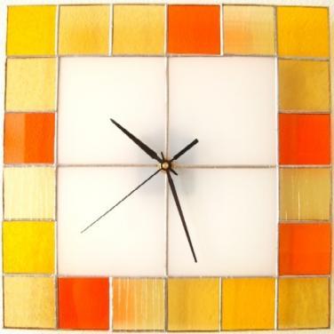 Hodiny vitrážové - oranžové