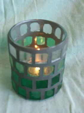 Mozaikový svícen na svíčku Green