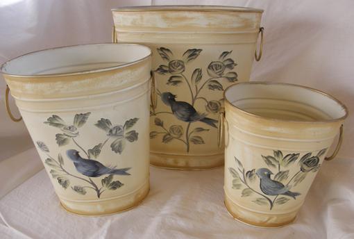 Květináče - sada kbelíků Modrý pták