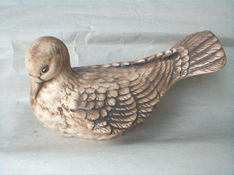 Keramický pták - Hrdlička natural