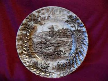 Keramický talíř Ironstone vůz - anglická keramika