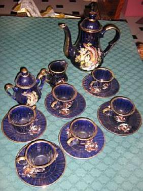 Modrý keramický servis AKCE!!!!