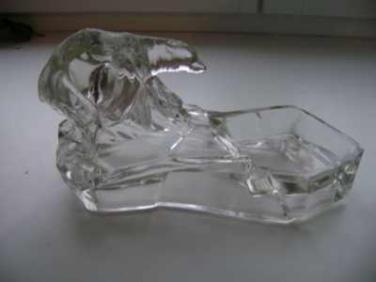 Skleněný popelník Medvědi ART DECO