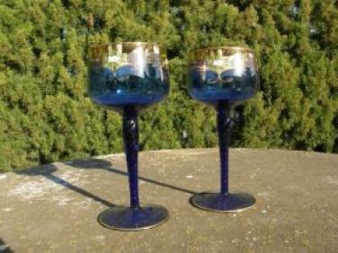 Skleničky leptané sklo 2 ks