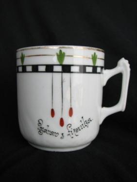 Porcelánový starožitný hrnek Pozdrav z Lipníka