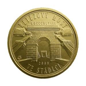 Zlatá mince Řetězový most ve Stádlci b.k.