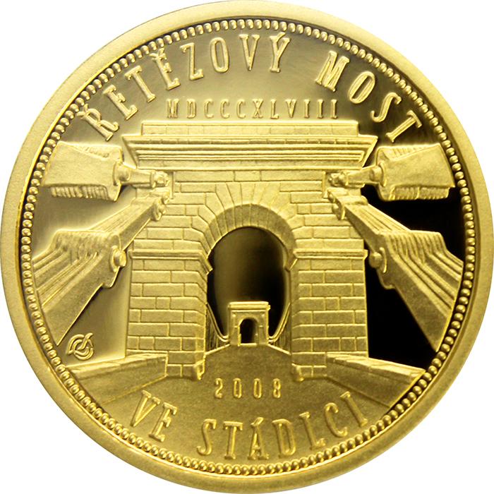 Zlatá mince Řetězový most ve Stádlci proof