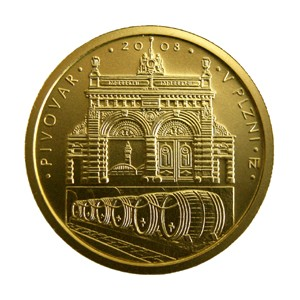 Zlatá mince Pivovar Plzeň proof