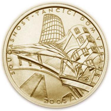 Zlatá mince Současnost Tančící dům v Praze proof