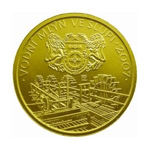 Zlatá mince Vodní mlýn ve Slupi proof