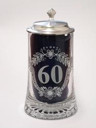 Skleněný korbel s poklopem výročí 60 let W