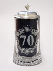 Skleněný korbel s poklopem výročí 70 let W