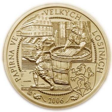 Zlatá mince Velké Losiny papírna proof