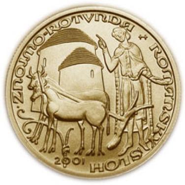 Zlatá mince Románský sloh rotunda ve Znojmě proof